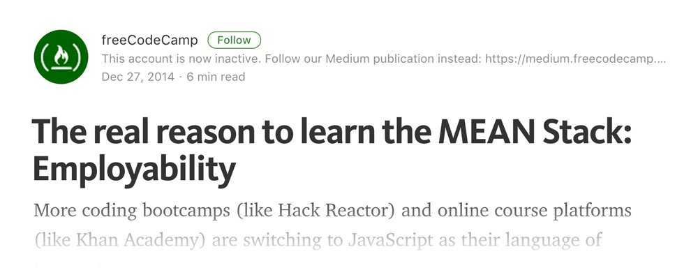 Free Code Camp Blog post on MEAN