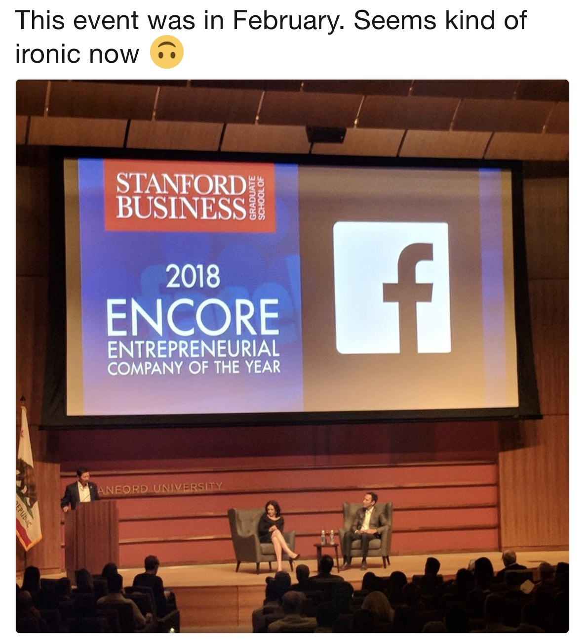 Stanford Business School awarding Facebook it's 2018 Entrepreneurial Company of the year